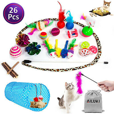 Cat Toys Set assorted 26 Pieces interactive kitten play fun Mice Fish Balls Bell