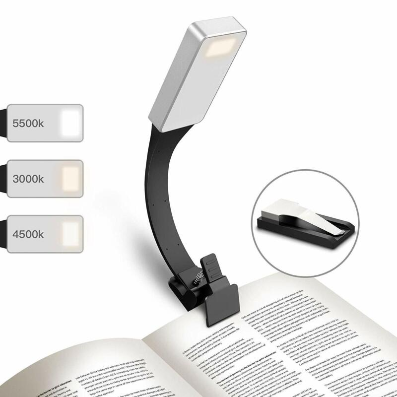 USB Rechargeable LED Reading Light Clip On Book Light Flexible For Kindle eBook