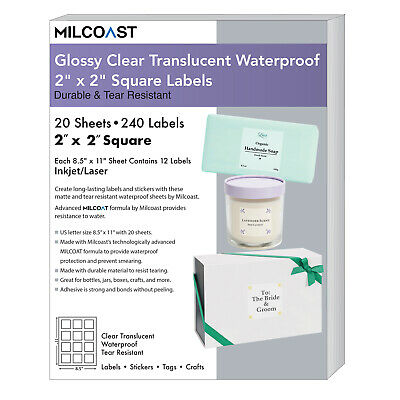 Milcoast Glossy Clear Translucent Waterproof 2 X 2 Square Labels 20 Sheets