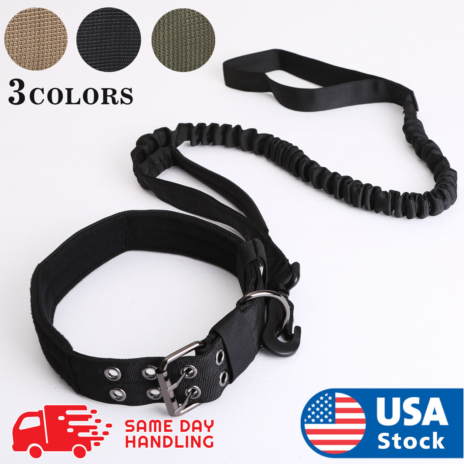 NEW Tactical K9 Dog Collar And Leash Harness Strap Training Heavy Duty Bungee Collars