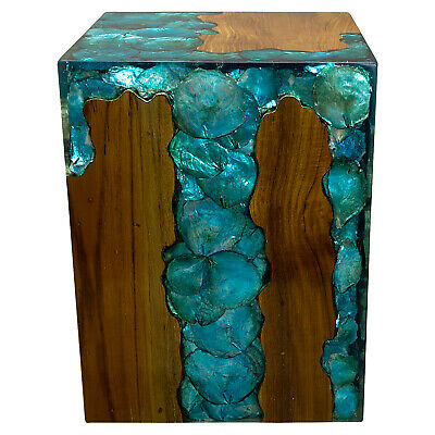 Blue Resin Lucite and Teak Root Wood End Side Night Stand Table BRN16
