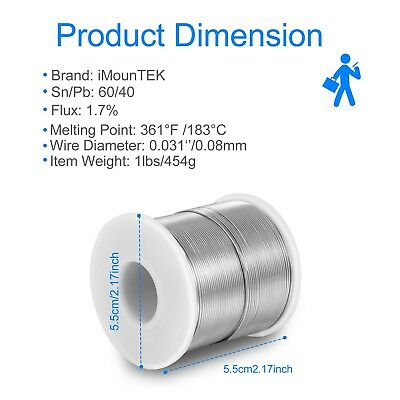 Solder Wire 6040 Tin Lead Rosin Core Electrical Sn60 Pb40 Flux 0.0310.8mm 1lb