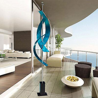 Large Aqua Blue Indoor Outdoor Modern Metal Sculpture Yard Art By Jon Allen