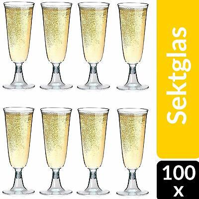 100 Sektgläser Plastik Einweg 0,1l Hochzeit Champagner Prosecco Gläser Glas