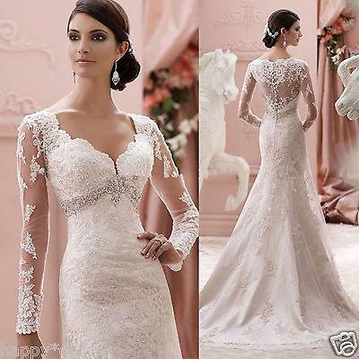 New Long Sleeve White/Ivory Wedding Dress Bridal Gown Custom Size 4-6-8-10-12-14