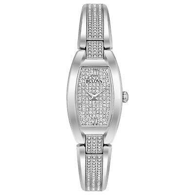 Bulova Women's Quartz Pave Dial Crystal Accents Bangle 32mm Watch 96L235