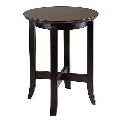 (Round Wood Accent End Table Bedside Dark Espresso Finish Elegant Style Sturdy  )