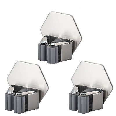 3pcs Mop and Broom Holder Garage Storage Tool Organizer Stainless Steel Gripper