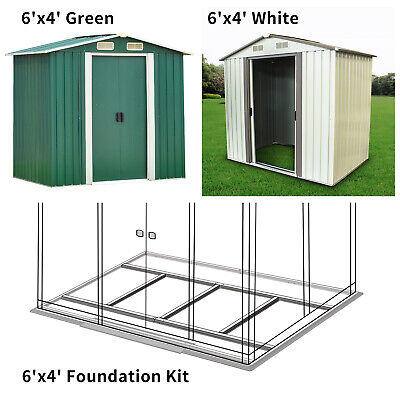 - 6'x4' Outdoor Storage Shed Steel Garden Utility Tool Building Garage Foundation