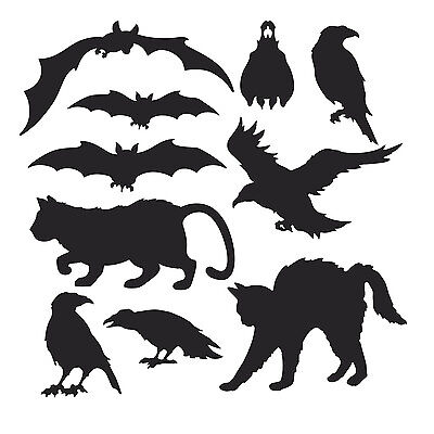 10 BLACK ANIMALS SILHOUETTES CUTOUTS HALLOWEEN PARTY DECORATIONS BATS CATS CROWS - Halloween Crow Silhouette