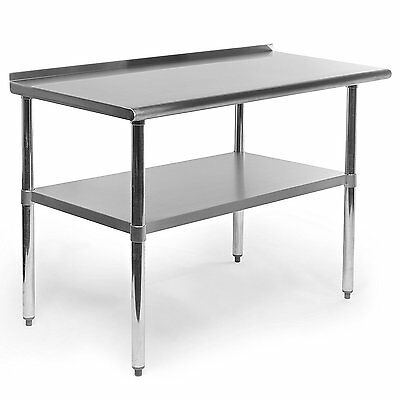 Stainless Steel Kitchen Work Table W Backsplash Shelf Counter Top Restaurant Bar