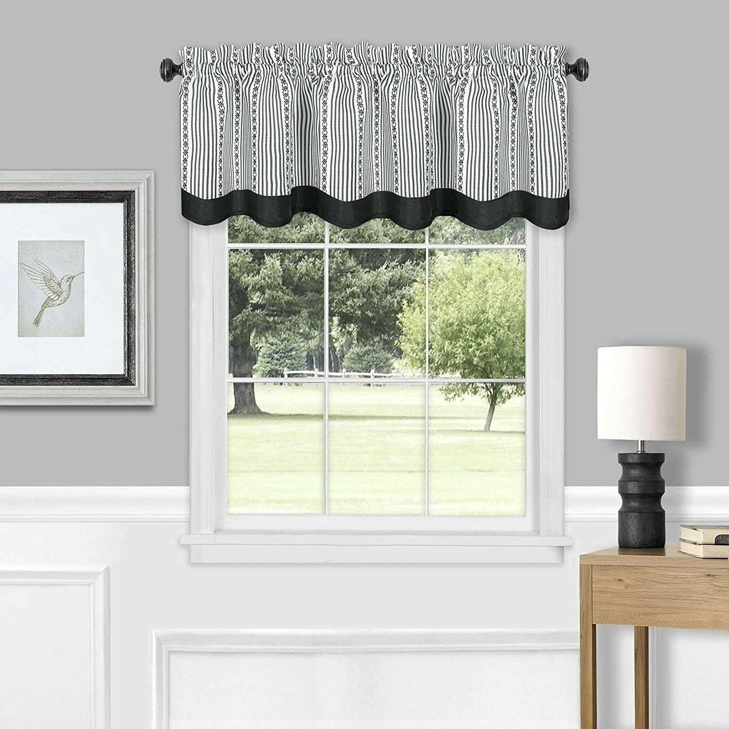 Country Farmhouse Striped Window Valance Curtain Treatments Assorted Colors Ebay