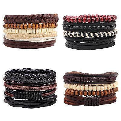 4Pcs Men Women Black Braided Leather Bracelet Wood Beaded Wristband Cuff Bangle  Black Leather Cuff Wristband Bracelet