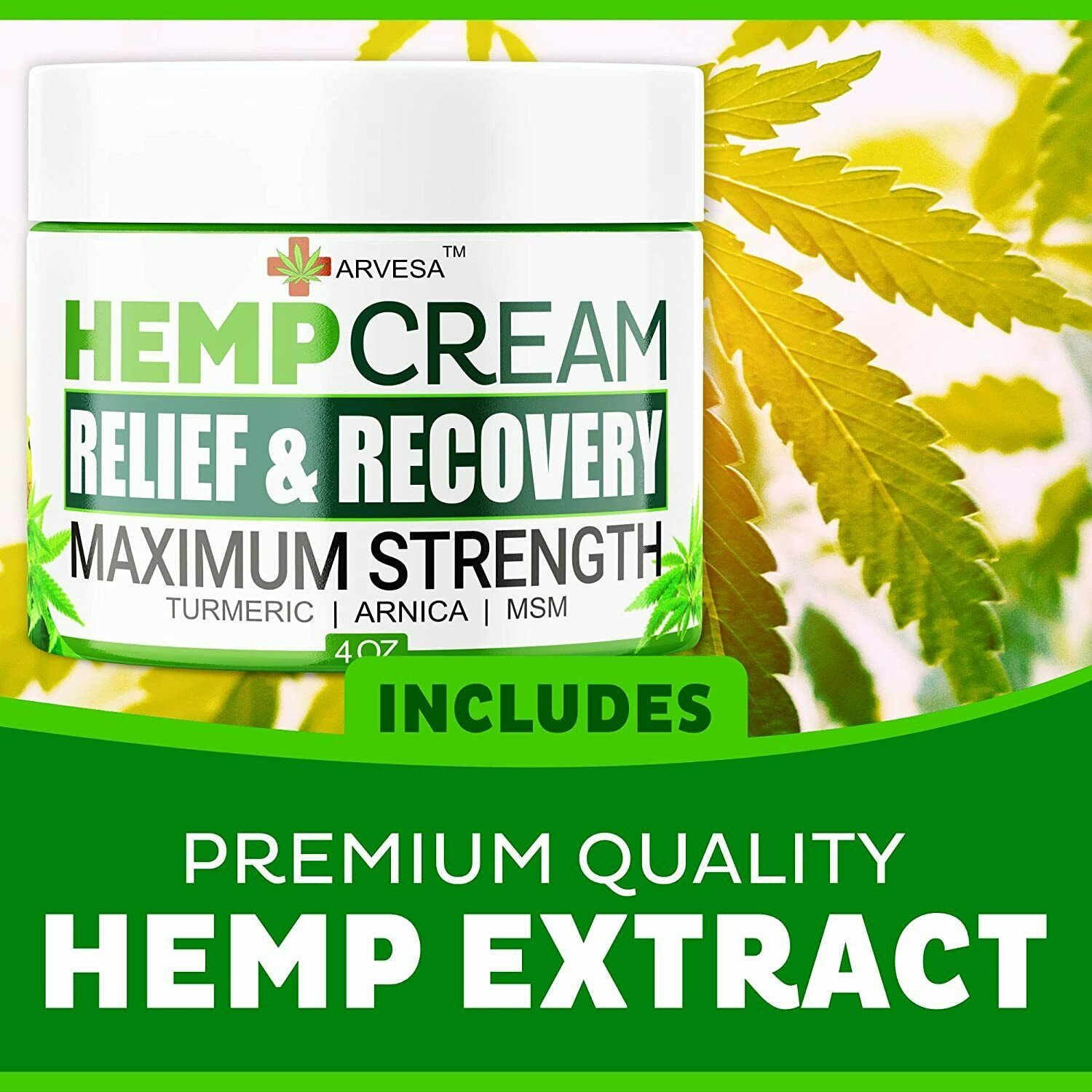 Instant Hemp Pain Relief Cream 8M Muscle Joint Foot Back Turmeric Arnica 4oz USA 6