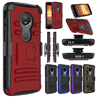 Hybrid Armor Belt Clip Stand Holster Phone Case For Motorola Moto E5 Play Cruise