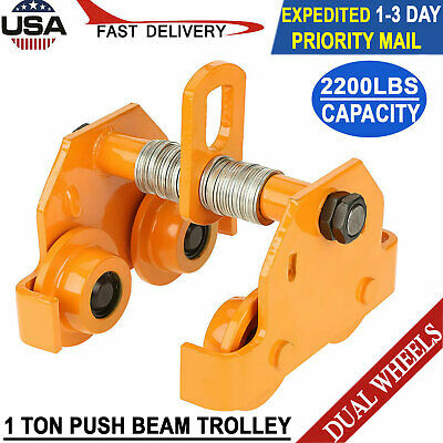 1 Ton Steel Push Beam Trolley For I Beam Gantry Crane Hoist Winch Shop 2200 Lb