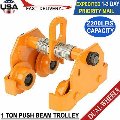1 Ton Steel Push Beam Trolley For I Beam Gantry Crane Hoist Winch Shop 2200 Lb