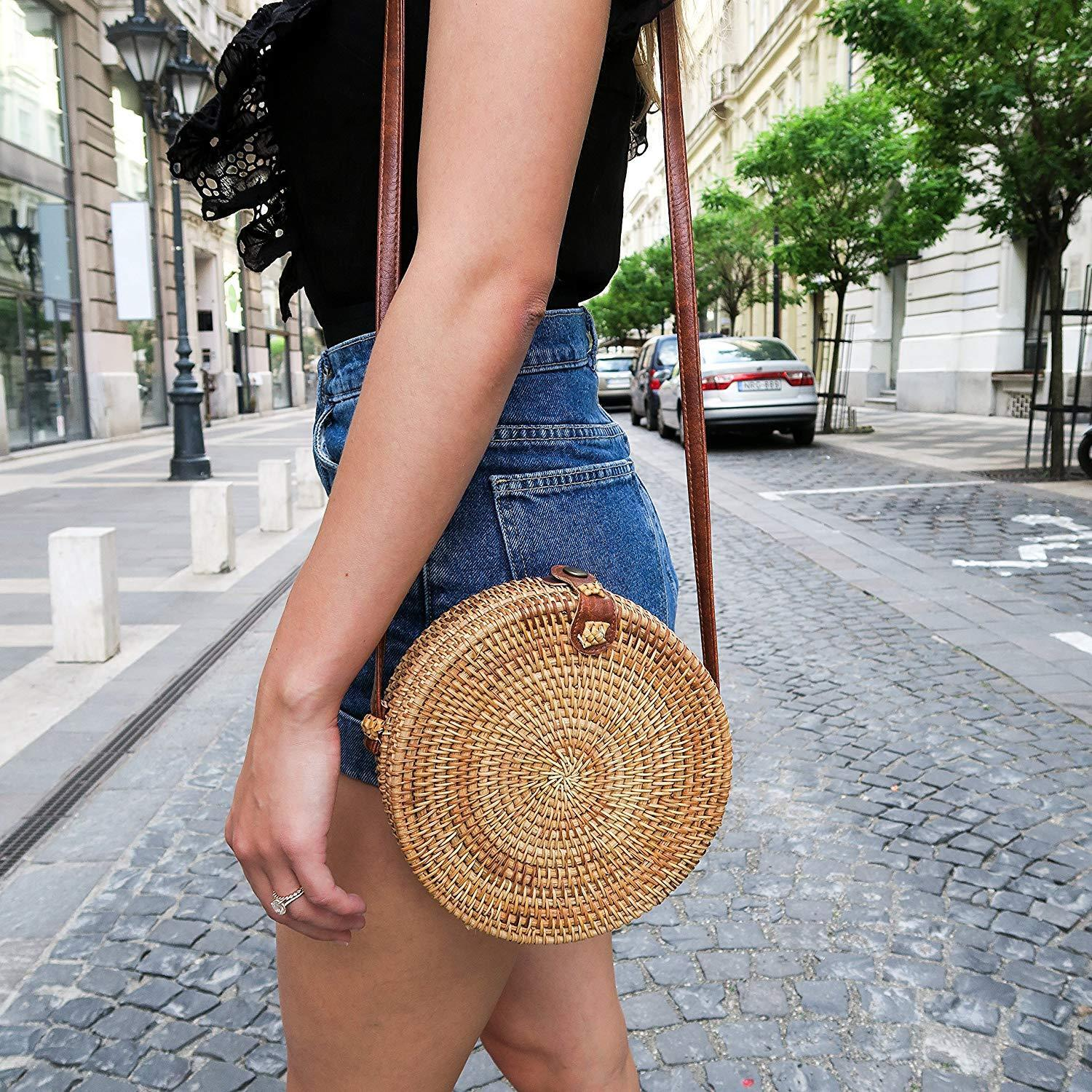 Rattan Bag Handmade Bali Ata Straw Woven Circle Crossbody Ha
