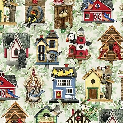 Fabric Wild Birds Birdhouses Allover Coordinate Cotton by 1/4 yard Elizabeth -