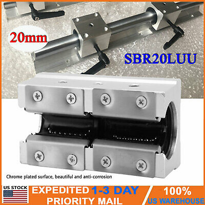 Sbr20luu Linear Motion Block Ball Bearing Slide Guide Shaft Cnc Router Part 20mm