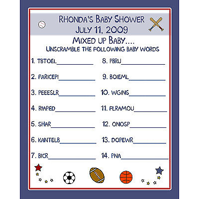 24 Baby Shower Word Scramble Game Cards  - Sports