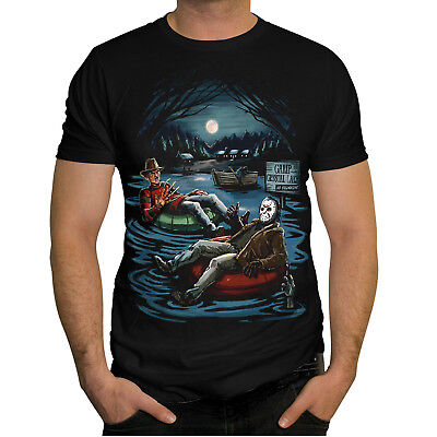 Freddy Krueger Jason Voorhees Inner Tube Camp Crystal Lake Horror T-shirt Medium](Camp Crystal Lake)