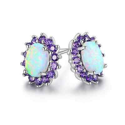 18K White Gold Plated White Fire Opal & Genuine Amethyst Flower Stud (Amethyst Flower Stud Earrings)