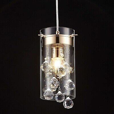 Crystal Pendant Hanging Light Fixture Glass Chandelier Mini Kitchen Island New