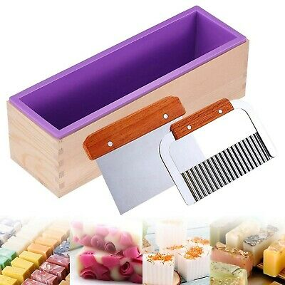 Ogrmar Silicone Soap Molds Kit-42 oz Wooden Silicone Soap Rectangular Mold wi...