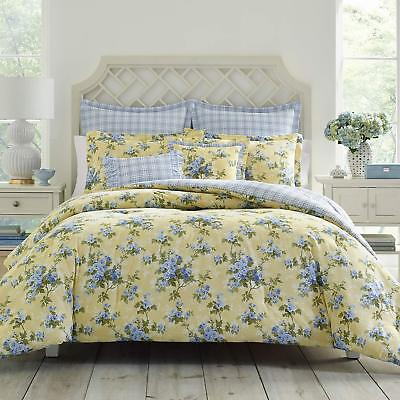 New 100% cotton Country Garden Yellow Blue Floral 7 pcs King Queen Comforter Set Garden Queen Comforter