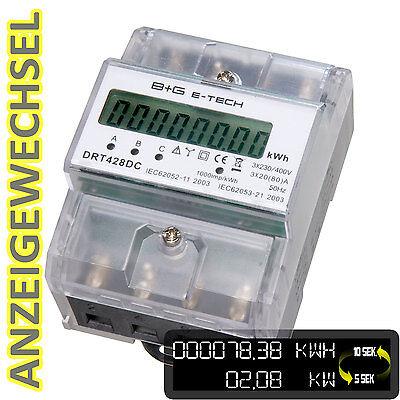 digitaler LCD Drehstromzähler Stromzähler mit S0, 3x20(80)A für DIN Hutschiene