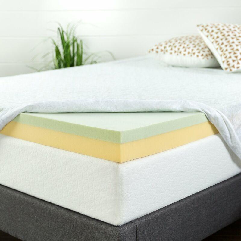 Zinus 4 Inch Green Tea Memory Foam Mattress Topper, Multiple