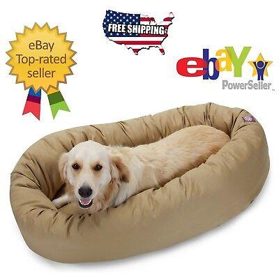 "KHAKI - Donut Bagel Animal Pet Dog Bed - 40"" Large 360° Bolster Cushion Bed"