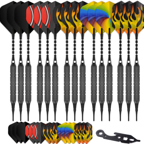 15PCS Soft tip darts black18g+100Tips+20Flights+15Alu shafts+Dart tool Cyeelife