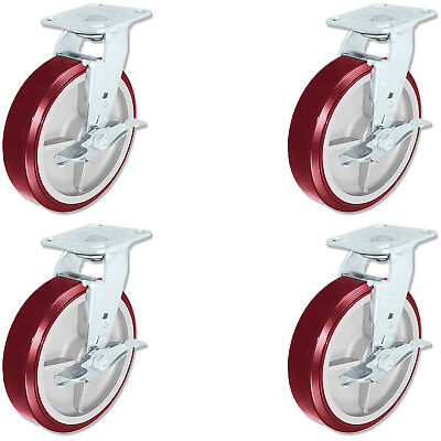 Casterhq - 8 Inch X 2 Inch Poly. Swivel Casters With Brakes 4 Ergonomic Wheel