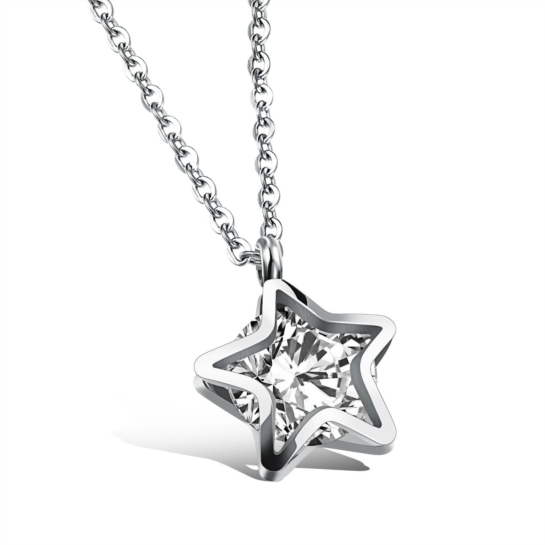 Edelstahl STERN Anhänger ZIRKONIA Halskette Damen Kette Silber necklace Zirkon