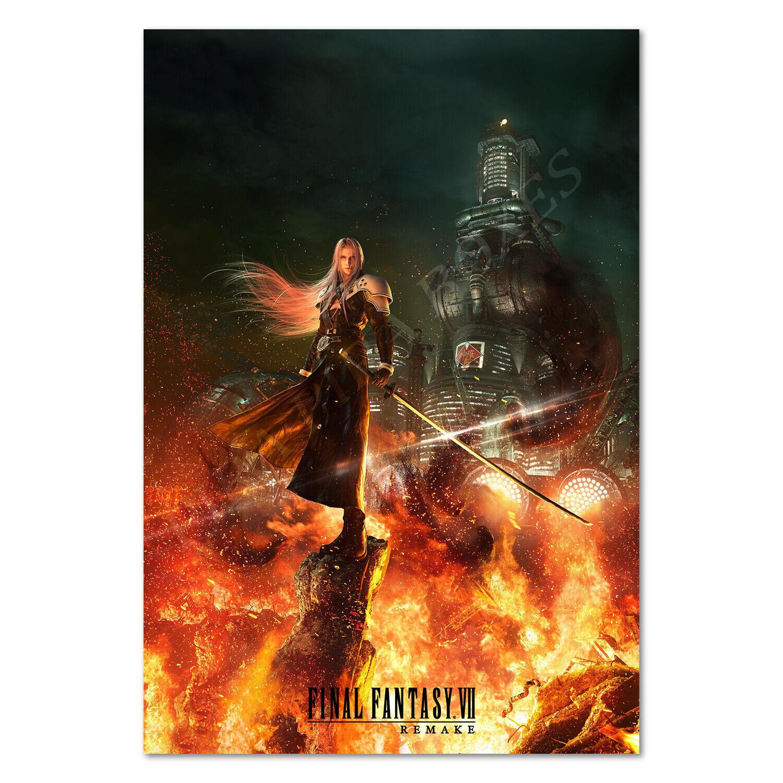 T2345 30 24x36 Silk Poster Final-Fantasy-VII-Remake-Cloud-vs-Sephiroth Art Print