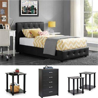 Twin Size Bedroom Set 4 Pieces Platform Bed Chest 2 Nightstands Modern Furniture