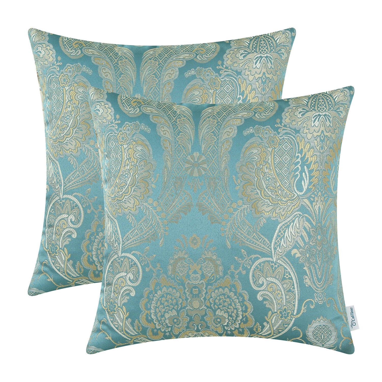 2Pcs CaliTime Teal Pillows Shells Cushion Covers Damask Flor