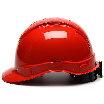 Pyramex Vented Cap Style Hard Hat With 4 Point Ratchet Suspension Red