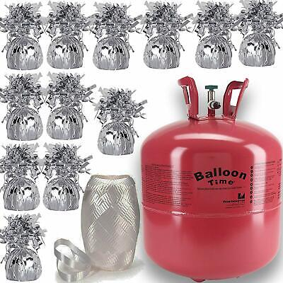 Helium Tank For Balloons (Helium Balloon Pump Tank for balloons + 12 Balloon Weights+ White Curling)