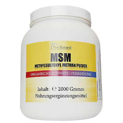 MSM Methylsulfonylmethan 2000g Pulver Dose, 2 kg Dose Organischer Schwefel
