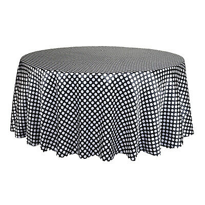 132 inch Round Satin Tablecloth Black/White Polka - Black And White Polka Dot Table Cloth