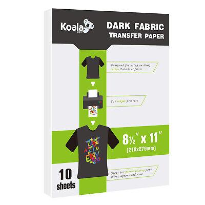Koala Dark Iron On Printable Heat Transfer Paper Cotton Fabrics 8.5x11 Inkjet