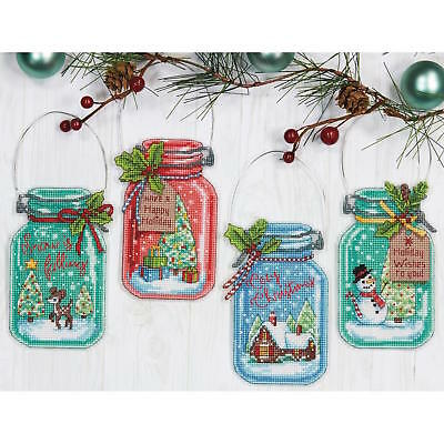 Dimensions Needlecrafts Christmas Jar Ornaments Counted Cross Stitch Kit