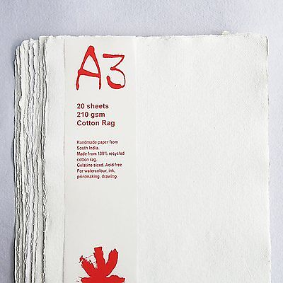Khadi White Cotton Paper Pack 210gsm A3 20 Sheets. Artists Handmade Paper.