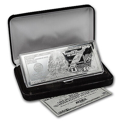 4 oz Silver Bar - 2016 $100 Bill (w/Box & COA) - SKU #94106