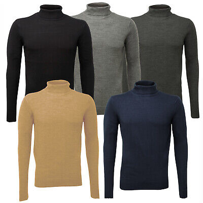 Soul Star Mens Knitted Polo Roll Turtle Neck Pullover Jumper Sweater Top