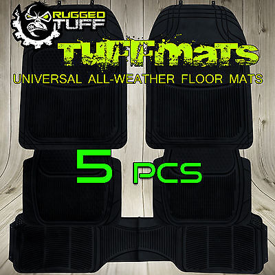 5 PC RUGGED TUFF SUV FLOOR MATS BLACK DURABLE WATER DIRT RESISTANT ODORLESS NEW