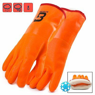 Premium Fully Coated PVC Glove, 3 Layers Liner, 12-inch Gauntlet Cuff-BG12ORG - Fully Coated Gauntlet